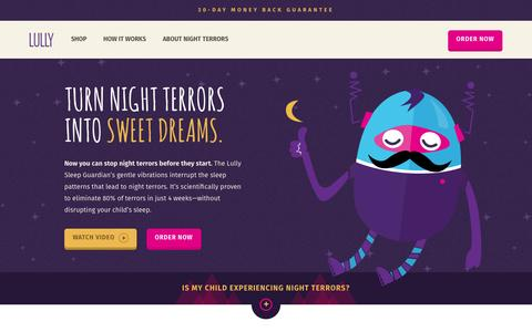 Screenshot of Home Page lullysleep.com - Proven Night Terrors Solution for Children | Lully Sleep Guardian - captured May 4, 2016