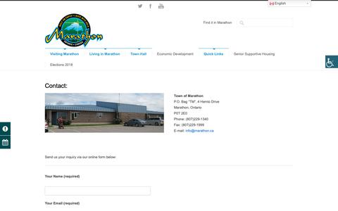 Screenshot of Contact Page marathon.ca - Town of Marathon Contact Town of Marathon - Town of Marathon - captured Sept. 29, 2018