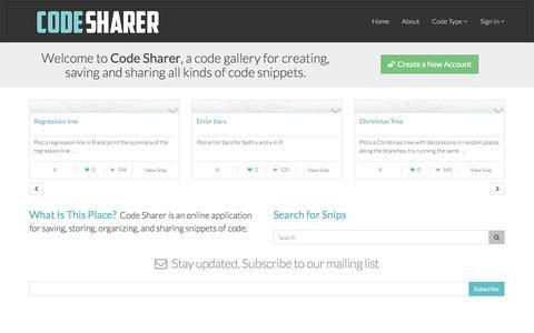 Screenshot of Home Page codesharer.org - Codesharer · Code Snippet Gallery - captured Jan. 31, 2017