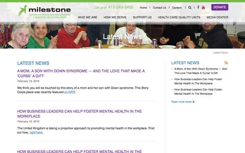 Screenshot of Press Page milestonecentersinc.org - Milestone Centers, Inc. | Centers for People with Developmental & Behavioral Health Challenges - captured Feb. 25, 2016