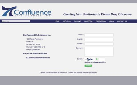 Screenshot of Contact Page confluencelifesciences.com - Contact Us | Confluence Life Sciences, Inc. | Charting New Territories in Kinase Drug Discovery - captured Dec. 6, 2016