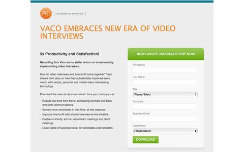 Screenshot of Landing Page pgi.com - Vaco video interviews case study - captured Dec. 17, 2015