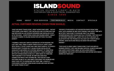 Screenshot of Testimonials Page islandsoundnyc.com - Staten Island Car Audio Repair and Installation - Island Sound NYC - captured Oct. 13, 2018