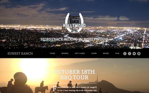 Screenshot of Home Page sunsetranchhollywood.com - Sunset Ranch - Horseback Riding in Hollywood - captured Sept. 30, 2014