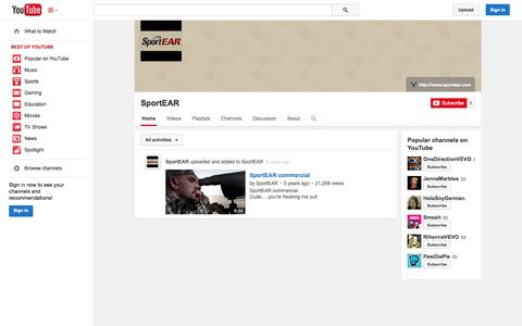 Screenshot of YouTube Page youtube.com - SportEAR  - YouTube - captured Oct. 25, 2014