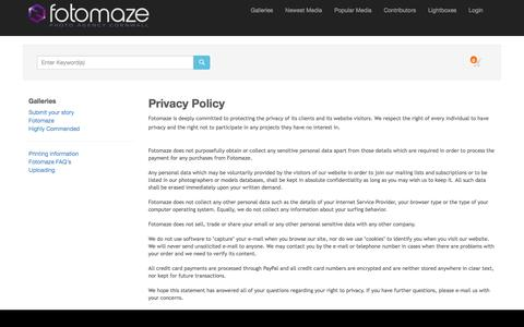 Screenshot of Privacy Page fotomaze.com - Fotomaze Cornwall Photography Agency - captured Jan. 8, 2016