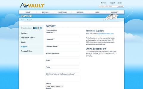 Screenshot of Support Page airvault.com - Support | AirVault - captured Sept. 30, 2014
