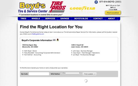 Screenshot of Contact Page Maps & Directions Page boydstire.com - Tires & Auto Repair in Ohio | Boyd's Tire & Service Center - captured March 17, 2016