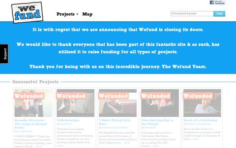Screenshot of Home Page wefund.com - Crowd Funding by Wefund | UK's Biggest Crowd Funding Platform - captured Feb. 13, 2016