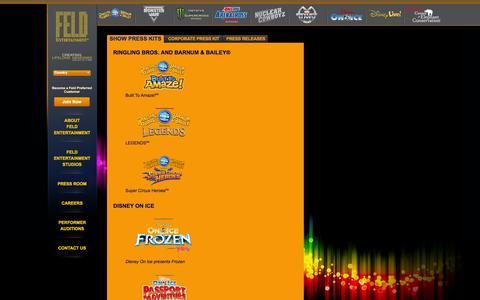 Screenshot of Press Page feldentertainment.com - Show Press Kits - captured Sept. 19, 2014