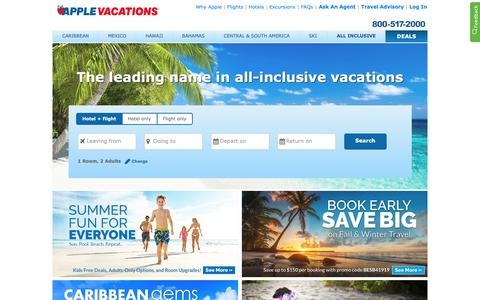 Screenshot of Home Page applevacations.com - All-Inclusive Vacations | America's #1 Tour Operator | Apple Vacations - captured April 24, 2019