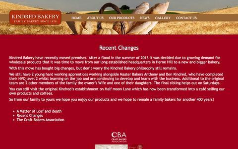 Screenshot of Press Page kindredbakery.co.uk - Kindred Bakery - News - captured Jan. 9, 2016