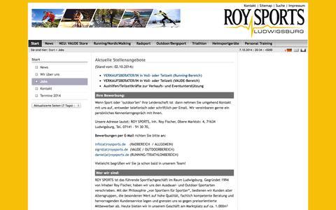 Screenshot of Jobs Page roysports.de - Jobs: Roy Sports - captured Oct. 7, 2014