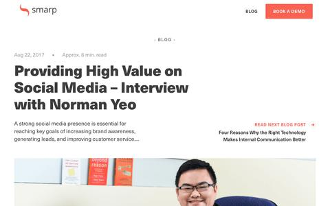 Screenshot of Blog smarp.com - Providing High Value on Social Media – Interview with Norman Yeo - captured Nov. 4, 2019