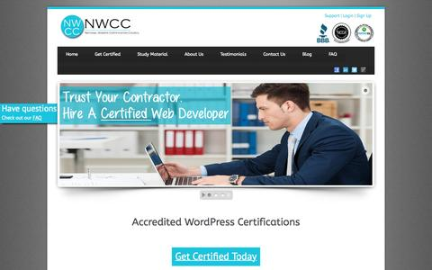 Screenshot of Home Page nwcconline.org - WordPress Certification - NWCC - captured Sept. 2, 2015