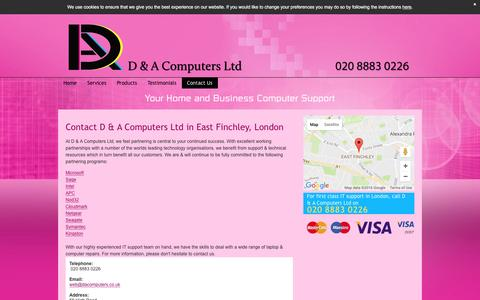 Screenshot of Contact Page dacomputers.co.uk - Contact Us For All Your IT Support Needs In East Finchley, London - captured Nov. 11, 2016
