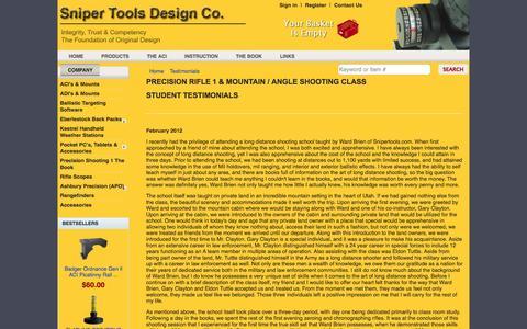 Screenshot of Testimonials Page snipertools.com - Testimonials - Sniper Tools Design Co - Home of the Angle Cosine Indicator - captured Oct. 26, 2014