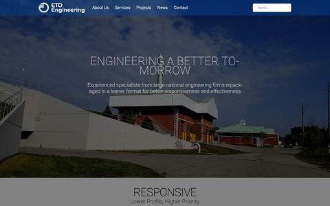 Screenshot of Home Page etoengineering.ca - ETO – Engineering A Better Tomorrow - captured Nov. 2, 2018