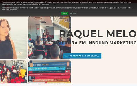 Screenshot of Home Page raquelmelo.com - Inbound Marketing para pequenos e grandes negócios | Raquel Melo - captured Nov. 16, 2018