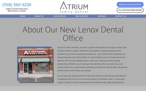 Screenshot of About Page atriumfamilydental.com - About Us | Atrium Family Dental - captured Dec. 9, 2018