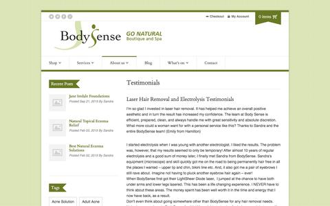 Screenshot of Testimonials Page bodysense.org - Testimonials - Body Sense - captured Jan. 6, 2016