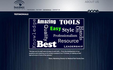 Screenshot of Testimonials Page buzzbizz.biz - Testimonials - captured Oct. 5, 2014
