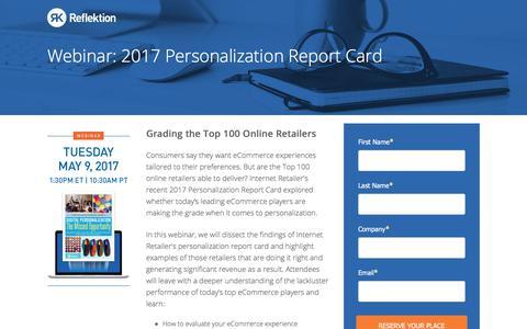 Screenshot of Landing Page reflektion.com - Webinar: Digital Personalization: The Missed Opportunity - captured June 21, 2017