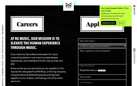 Screenshot of Jobs Page rxmusic.com - Open positions at RX Music - captured Sept. 29, 2018