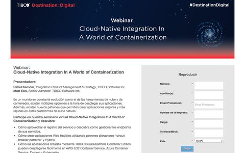 Screenshot of Landing Page tibco.com - Cloud-Native Integration In A World of Containerization - captured May 18, 2018