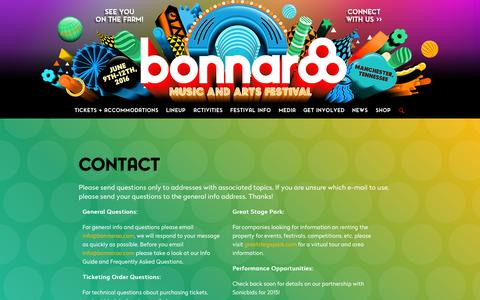 Screenshot of Contact Page bonnaroo.com - Contact Us | Bonnaroo 2015 - captured Sept. 29, 2015
