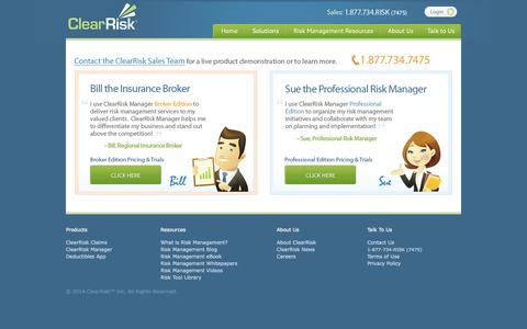 Screenshot of Pricing Page clearrisk.com - ClearRisk Manager Pricing | ClearRisk™ - captured Sept. 13, 2014