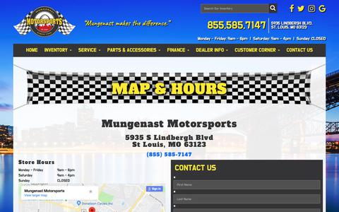 Screenshot of Contact Page mungenastmotorsports.com - Map & Hours | Mungenast Motorsports | St. Louis, MO - captured Nov. 7, 2018