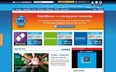 Screenshot of Home Page pokerwinners.com - Online Poker Rankings, Strategy & Training, Videos, Community | PokerWinners - captured Nov. 25, 2015