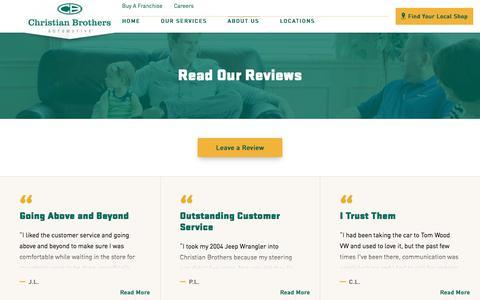 Screenshot of Testimonials Page cbac.com - Client Reviews   Christian Brothers Automotive - captured Oct. 25, 2017
