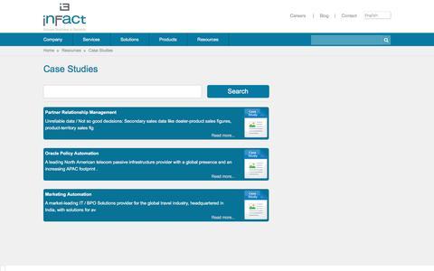 Screenshot of Case Studies Page infactgroup.com - Case Studies - captured Nov. 13, 2016