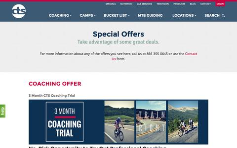 Screenshot of Signup Page trainright.com - Specials - CTS - captured Feb. 20, 2016