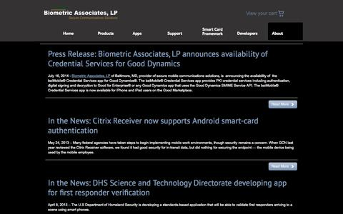 Screenshot of Press Page biometricassociates.com - News «  Biometric Associates, LP - captured Sept. 13, 2014