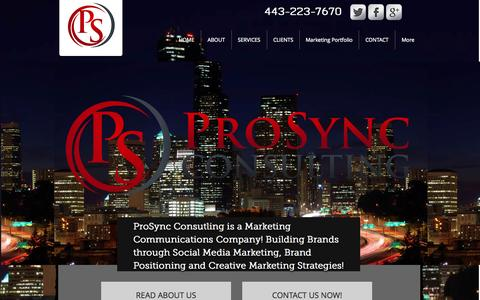 Screenshot of Home Page prosyncconsulting.com - Marketing and Branding Solutions - captured Oct. 8, 2014