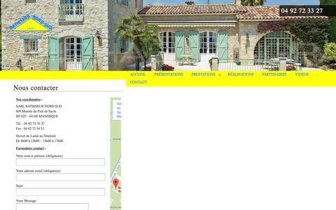 Screenshot of Contact Page batisseurnordsud.com - Nous contacter - Batisseur Nord Sud : Maconnerie Manosque. - captured Oct. 29, 2014