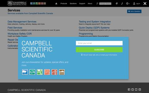 Screenshot of Services Page campbellsci.ca - Services: Services available from Campbell Scientific Canada - captured July 12, 2017