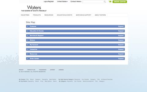 Screenshot of Site Map Page waters.com - Sitemap : Waters - captured Sept. 19, 2014