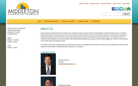 Screenshot of About Page middletonchamber.com - About Us - Middleton Chamber of Commerce - captured Feb. 13, 2016
