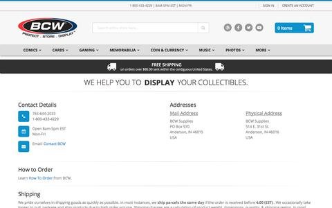 Screenshot of Support Page bcwsupplies.com - Customer Service | BCW Supplies - captured July 3, 2018