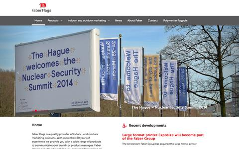 Screenshot of Home Page faberflags.com - Faber Flags - Supplier of all flexible indoor and outdoor marketing products - captured Aug. 3, 2015