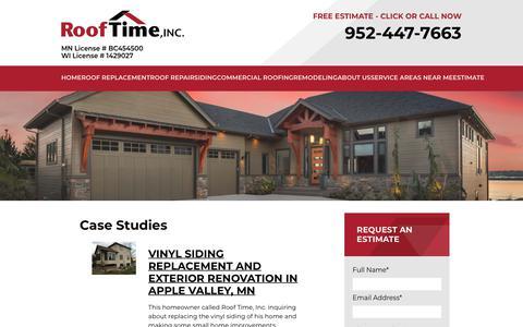 Screenshot of Case Studies Page rooftime.com - Case Studies - Roof Time, Inc. - captured Oct. 18, 2018