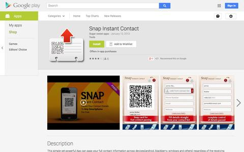 Screenshot of Android App Page google.com - Snap Instant Contact - Android Apps on Google Play - captured Oct. 26, 2014