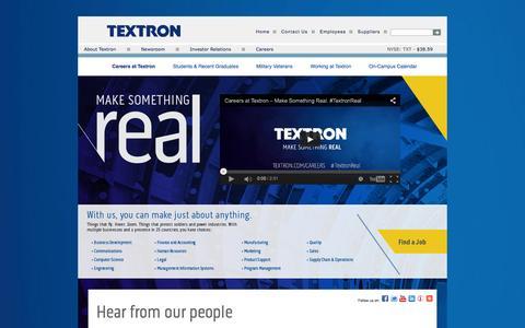 Screenshot of Jobs Page textron.com - Careers at Textron - captured Oct. 21, 2015