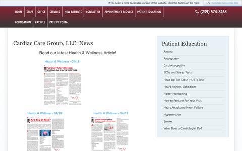 Screenshot of Press Page flccg.com - Cardiac Care Group, LLC: News - CCG | Cape Coral, FL - captured Sept. 27, 2018