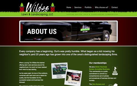 Screenshot of About Page wildeslawnandlandscaping.com - Wildes Lawn & Landscaping, LLC   About Us   Learn more about Waynesville, Ohio landscaping company Wildes Lawn & Landscaping - captured Sept. 30, 2014