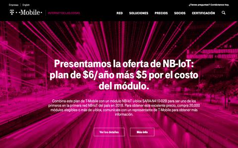Screenshot of Pricing Page t-mobile.com - Precios de IoT | Precios de IoT flexibles, simples y transparentes | T-Mobile - captured Oct. 25, 2018